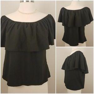 Sale! Eovvio   Black Off Shoulder Ruffle Top [New]